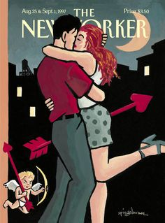 """The New Yorker - Monday, August 25, 1997 - Issue # 3765 - Vol. 73 - N° 25 - « Love Lessons » - Cover """"Beau and Eros"""" by Art Spiegelman"""