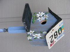bird house with license plate
