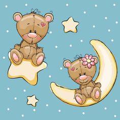 Cartoon bear with stars and moon card vector Tatty Teddy, Cute Cartoon Animals, Bear Cartoon, Cute Animals, Clipart Baby, Bear Vector, Bear Valentines, Girls With Flowers, Animal Cards