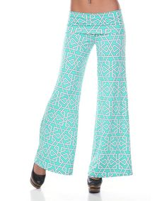 Take a look at the White Mark Mint & White Geometric Palazzo Pants on #zulily today!