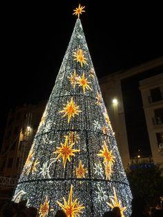 Árbol de Navidad de luces en Calle Larios