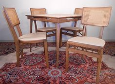 Vintage Stakmore Wooden Folding Card Table 4 Chairs Danish Modern Eames Era Nice