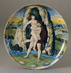 Shallow bowl with Hercules overcoming Antaeus  Workshop of Maestro Giorgio Andreoli, Gubbio, Shallow  bowl with Hercules overcoming Antaeus, National Gallery of Art, Washington
