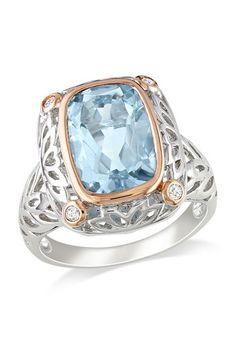 Sterling Silver Diamond Accented Blue Aquamarine Filigree Ring