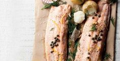 For a truly good-for-you low-sodium HealthyFood dish, omit the capers. Baked Trout Fillet, Baking Recipes, Healthy Recipes, Recipe Search, Cheesesteak, Delicious Desserts, Seafood, Lemon, Dishes