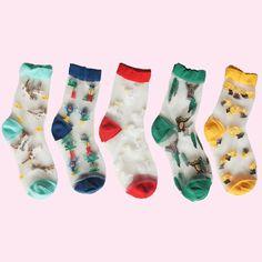 littlealienproducts:  Comic Series Transparent Socks // $5
