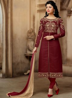 Discover the latest in stunning designer suits, salwar kameez online. Buy this prominent embroidered work chanderi churidar suit.