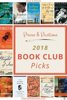 2018 Book Club Picks for Prose & Pastime promise plenty of thought provoking conversation!