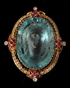 An extremely fine antique aquamarine cameo and ruby and diamond brooch/pendant, circa 1860 - Fine Jewellery - February - March 2011 - Auction Atrium Victorian Jewelry, Antique Jewelry, Vintage Jewelry, Neo Victorian, Victorian Steampunk, Antique Gold, Bijoux Art Deco, Aquamarine Jewelry, Aquamarine Pendant