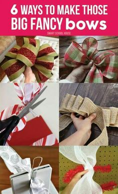 to Make Christmas Bows 6 Ways to Make those Big Fancy Bows. Easy DIY bows for the holidays or anytime of the year. DIY Ideas, Easy Ways to Make those Big Fancy Bows. Easy DIY bows for the holidays or anytime of the year. Christmas Bows, Diy Christmas Gifts, Handmade Christmas, Christmas Projects, Holiday Crafts, Christmas Decorations, Christmas Ornaments, Holiday Decorating, Christmas Ideas