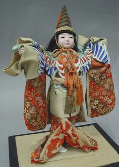 Large Antique Japanese Sanbaso Dancing Crane Doll.A dance that traditionally opens a kabuki season or marks the opening of a new theatre.before 1950.
