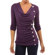 Purple Cowl Neck Long Sleeve Button Detail Ruched T-shirt