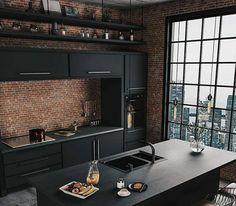 ✔ Exmple Design Farmhouse Kitchen Remodel Ideas The Most Liked Küchen Design, Home Design, Design Ideas, Black Kitchens, Cool Kitchens, Kitchen Black, Interior Minimalista, Decor Inspiration, Decor Ideas