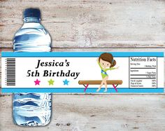 Gymnastics Water Bottle Labels, Gymnastics Party Water Wrappers, Tumbling Party Favors, Gymnastics Birthday Party,Gymnastics Party Labels by PartiesR4Fun on Etsy
