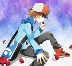 Hilbert with countless Pokeballs. Pokemon Game Characters, Pokemon Games, Disney Characters, Fictional Characters, Black Pokemon, Black And White, Disney Princess, Wallpaper, Random Pictures