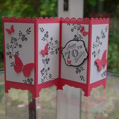 -11 x 6 inch cardstock; scored at 2 3/4, 5 1/2 and 8 11/4, -Stampin Up: Beautiful wings embosslits, thoughts prayers stamp, decorative punch (bottom) - Flower doily punch by Xcut