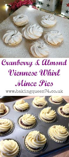 Cranberry and Almond Viennese Whirl Mince Pies - a lovely Christmas bake christmas desserts creative Xmas Food, Christmas Cooking, Christmas Desserts, Christmas Treats, Christmas Recipes, Christmas Cakes, Christmas Mince Pies, Christmas Nibbles, Xmas Cakes
