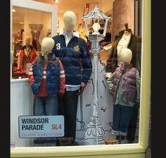 Joules Window Visual Merchandising Scheme- love the lampshade idea