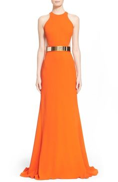 Stella McCartney Belted Stretch Cady Gown available at #Nordstrom