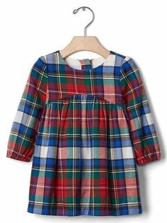 Gap Plaid Flannel Shirred Dress (with red shoes & fur vest) Flannel Dress, Flannel Outfits, Baby Outfits, Kids Outfits, Plaid Flannel, Baby Girl Christmas, Christmas Minis, Baby Girl Skirts, Shirred Dress