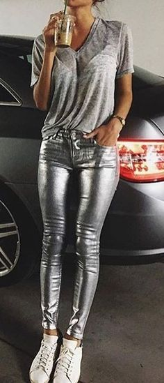 #fall #outfits Skinny Metallic Pants // Grey Top // White Sneakers