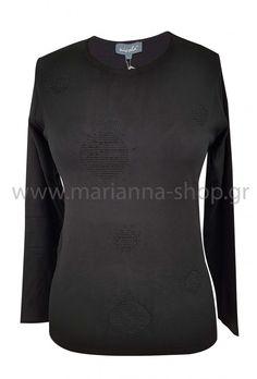 Μπλούζα μαύρη με ανάγλυφα σχέδια.Είναι απο μαλακό βισκόζ νήμα και έχει λαιμόκοψη, μακριά μανίκια και αναγλυφα σχέδια διακοσμημένα με μαυρα στρασάκια. Μήκος μπλούζας 63εκ., μήκος μανικιών 58εκ. για το μέγεθος Μ.88% viscose-12%elite.Ελληνική ραφή. Jumpers, Knitwear, Sweaters, Shopping, Fashion, Moda, Tricot, Fashion Styles, Jumper