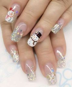 Muñeco de nieve Cute Christmas Nails, Xmas Nails, Christmas Nail Designs, Halloween Nail Designs, Christmas Nail Art, Holiday Nails, Halloween Nails, Summer Acrylic Nails, Best Acrylic Nails