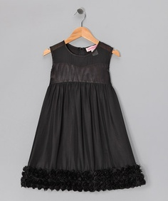 Take a look at this Black Rosette Hem Shift Dress - Girls by Paulinie on #zulily today!