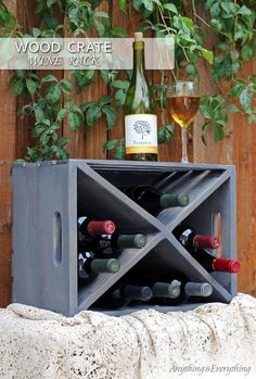 Wood Crate Turned Wine Rack
