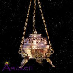 Charcoal Burner Incense Holder, Brass & Copper 11cm Hanging - Incense Holders - Incense - Aromatherapy