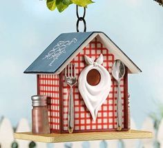 """9"""" Country Diner Restaurant Hanging Birdhouse Durable Polystone New 