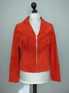 Veste en cuir rouge vermillon IKKS taille L #Autresvestesblousons