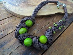 Tagua Nut Statement Necklace, Linen Necklace, Light Green Tagua Nut Beads, Linen Cord, Natural Necklace