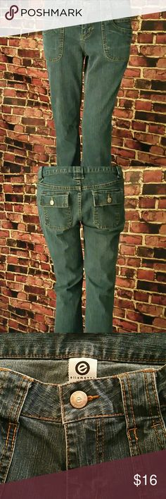 Ellemenno Jeans Ellemenno Jeans. 78% cotton, 28% polyester, 2% spandex. Waist: 26 inches, Thigh: 9.5 inches, Hips: 18 inches, Rise: 11.5 inches, Inseam: 31 inches, Outseam: 40 inches, Leg Opening: 9.5 inches. **Seller's Discount: 20% off 2 or more items.**[B8] ellemenno Jeans