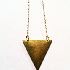 "Smooth Pyramid Necklace Large Smooth Brass Pyramid on 17"" Gold Filled Chain.  $30.00  #pyramid #triangle #necklace #chain #gold #brass #goldfilled #jewelry #accessories #womens #mens"