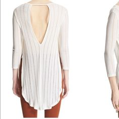 Free people ivory shirt Super cute for spring and summer coming! Free People Tops Tees - Long Sleeve