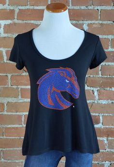 "Team 44 Apparel - BOISE STATE UNIVERSITY, CROSSBACK TEE with 9"" Nailhead Bronco Logo"
