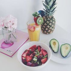 Pineapple  , Orange Juice, Avocado, Strawberries , Kiwis, and Raspberries