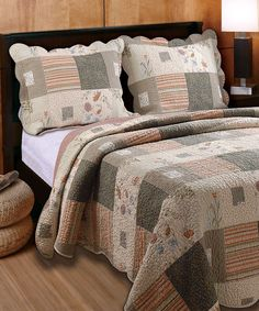 Wildflowers combine with warm stripes in the Sedona Bonus quilt set. A whole cloth quilt set crafted in the colors of the great Southwest, Sedona features scalloped edges. Comes with embroidered decorative pillows. King Quilt Sets, Queen Quilt, Bed Sets, Western Quilts, Whole Cloth Quilts, Quilting, Bed Duvet Covers, Pillow Shams, My New Room