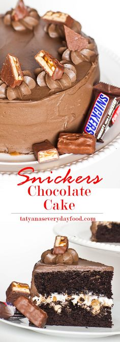 "A ""Snickers""-inspired chocolate cake, filled with marshmallow cream, caramel, salted peanuts and frosted with a chocolate caramel frosting. This fun and delicious cake is perfect for any occasion, and especially for birthday parties! Watch my video tutorial for step-by-step instructions! Love this recipe? Try this 'No-Bake Oreo Cheesecake' next! Get the recipe here:  http://tatyanaseverydayfood.com/recipe-items/oreo-cheesecake/ ‎"