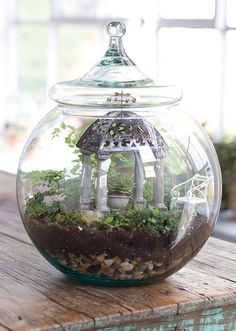 Jeremie   Miniature garden accessories for a glass terrarium.  Gazebo, planter and garden bench.