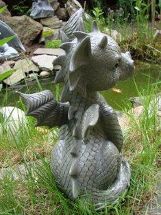 Great prices on your favourite Gardening brands, and free delivery on eligible orders. Statues, Dragon Statue, Dragon Art, Magical Creatures, Fantasy Creatures, Dragon Project, Polymer Clay Dragon, Paper Mache Crafts, Cute Dragons