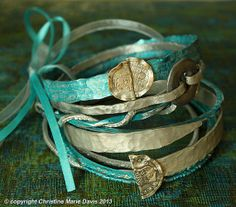 aqua smashed knitting needle BANGLE stack... gypsy style BRACELETS and beaten bollywood bangles in carribean turquoise blues and silver