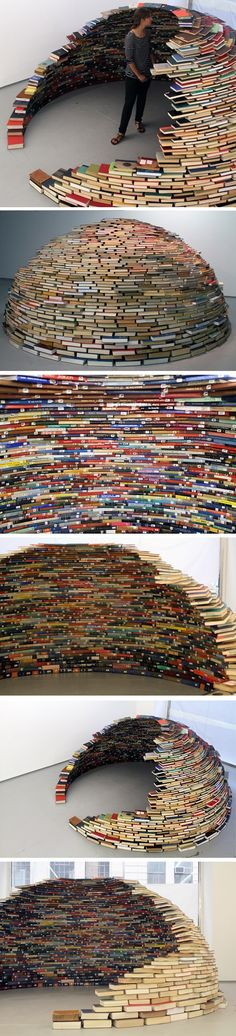 Miler Lagos - NYC's MagnanMetz Gallery (New York, USA) - Colombian artist Miler Lagos works in several mediums including sculpture, installation and video. Much of his art is a metaphor for the fine balance between nature and culture especially in today's state of diminishing resources. Here is a stable igloo made of carefully stacked books.