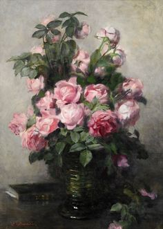 Emma Ekwall-Schuetz (Swedish painter) 1838 - 1925 Stilleben med Rosor, s. oil on canvas 51 x 31 cm. Rose Illustration, Cow Art, Acrylic Flowers, Vintage Art Prints, Still Life Art, Art Floral, Beautiful Paintings, Flower Art, Amazing Art