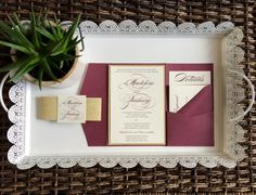 Burgundy and Gold Glitter Wedding Invitation by CZinvitations