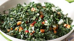 Salty pancetta and nutty pecorino dress up Ina Garten's kale salad recipe. Bonus: Much of the prep for this recipe can be done ahead.