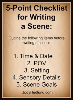Author, Jody Hedlund: A Quick 5-Point Checklist for Writing a Scene