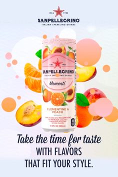 Enjoy Sanpellegrino Momenti in three invigorating flavors. The surprising mix of real fruit juices and sparkling bubbles Ads Creative, Creative Advertising, Advertising Design, Food Graphic Design, Food Poster Design, Food Design, Sparkling Drinks, Fruity Drinks, Low Cal