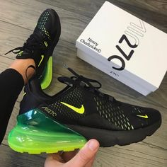 Nike Air Max 270 Black Volt Link in bio what a sick colorway all sizes . Cute Nike Shoes, Cute Sneakers, Sneakers Nike, Adidas Shoes, Nike Air Max, Zapatos Nike Jordan, Kicks Shoes, Hype Shoes, Air Max 270